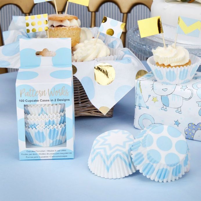 Blue & White Cupcake Cases - pack of 100